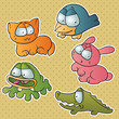 Set of five cute cartoon vector animals.