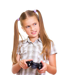 Girl playing game.