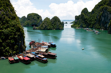 Tourist boats, Halong Bay, Vietnam