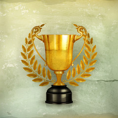 Golden trophy, old-style vector