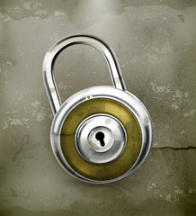 Padlock, old-style vector