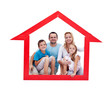 Happy family with kids in their home concept