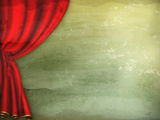 Theater curtain, old-style vector