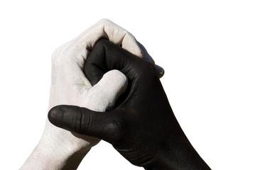schwarze und weiße Hand greifen ineinander