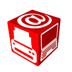 3d red cube box web