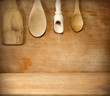 Old grunge vintage wooden cutting kitchen desk board with spoon