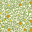 Vintage seamless pattern of weaving flowers