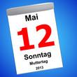 Kalender auf blau - 12.05.2013 - Muttertag
