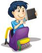 a boy in the school bag