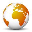 Weltkugel, Erdkugel, Globus, Erde, Welt, Europa, Orange, Globus