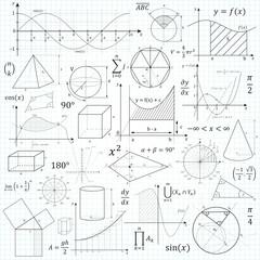 Mathematik, Mathe, Symbole, Zeichen, Zeichnung, Vorlage, Formeln