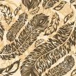 Retro seamless pattern with feathers