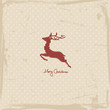 Flying Reindeer Abstract Red Retro Beige Background
