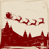 Christmas Sleigh 4 Flying Reindeers Red Retro Beige Background