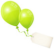 2 Flying Green Balloons & Beige Label