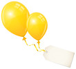 2 Flying Yellow Balloons & Beige Label