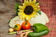 Background of vegetable and sunflower.