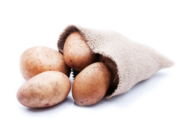 a sack of potatoes, isolated background