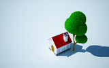 cartoon home and tree
