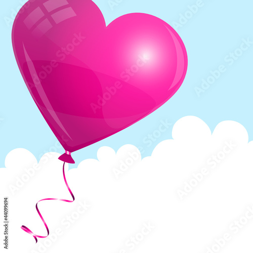 Flying Pink Heart Balloon Sky & Clouds