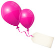 2 Flying Pink Balloons & Beige Label