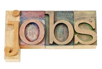 jobs word in letterpress wood type