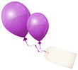 2 Flying Purple Balloons & Beige Label