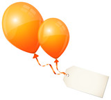 2 Flying Orange Balloons & Beige Label