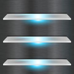 glass shelf with blue led light background