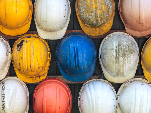 Old used construction helmets