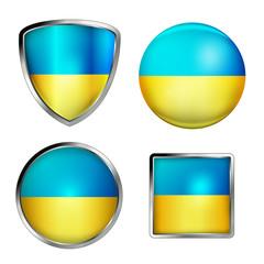 ukraine flag icon set, glänzend