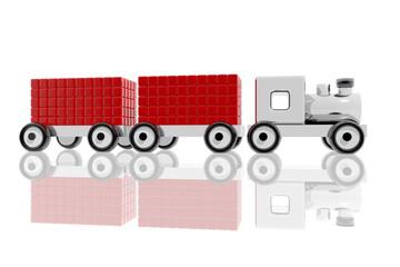 Tren de juguete metálico con mercancías