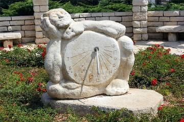 Sundial sculpture in the Rose garden