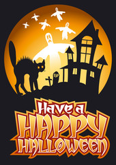 Have a Happy Halloween Graphic, Black Cat & Ghosts