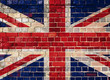 UK flag on a brick wall background