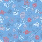 Fantasy childlike seamless pattern poster