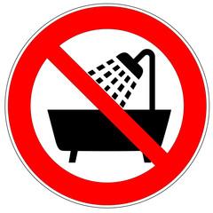 Verbotszeichen - Gerät in Badewanne