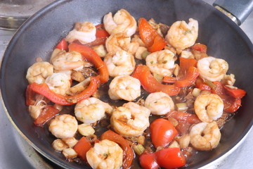 Shrimps In Frying Pan With Steam