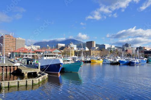 Leinwandbild Motiv Fishing Boat At Dock in Hobart Harbour