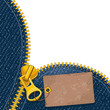 Metal zipper on denim background