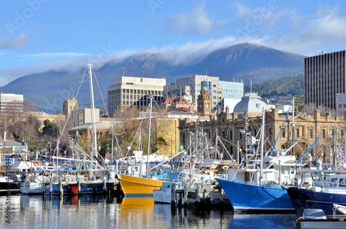 Leinwandbild Motiv Fishing Boat At Wharf in Hobart Harbour