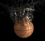 Basketball falls into water