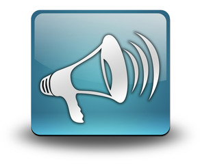"Light Blue 3D Effect Icon ""Megaphone / Announcement Symbol"""