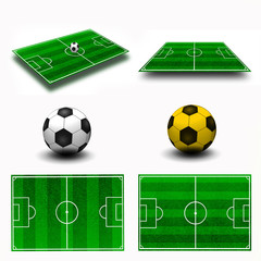 Collage. Soccer field tactic table, map on perspective geometry,