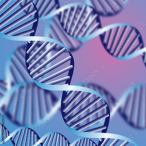 DNA helix, biochemical background with defocused strands, eps10