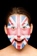 girl with british flag painted on her face