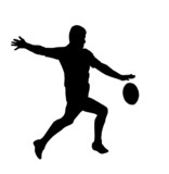 Sport Silhouette - Rugby Football Running Kicking For Touch