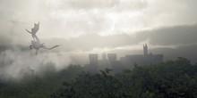 "Постер, картина, фотообои ""Dragon Flying Over a Misty Fantasy Forest"""
