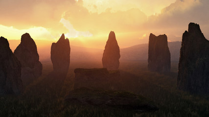 Prehistoric Stone Circle at Sunset