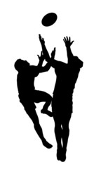 Sport Silhouette - Rugby Football Jumping to Catch High Ball